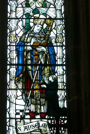 Stained glass image of Saint Anselm