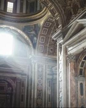 Light entering baroque cathedral window